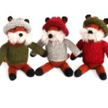 Melange Fox in Sweater Ornament
