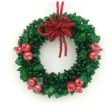Melange Wreath with Red Berries Ornament