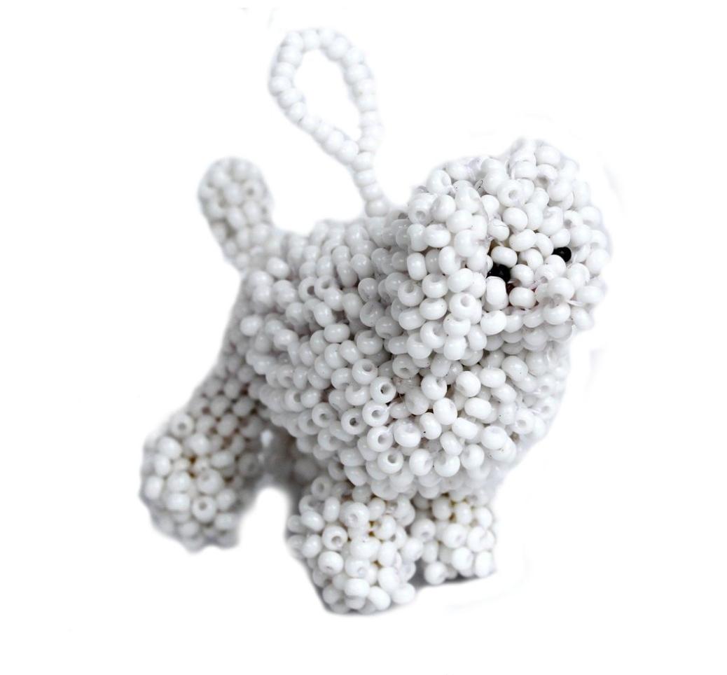 Melange White Poodle Ornament