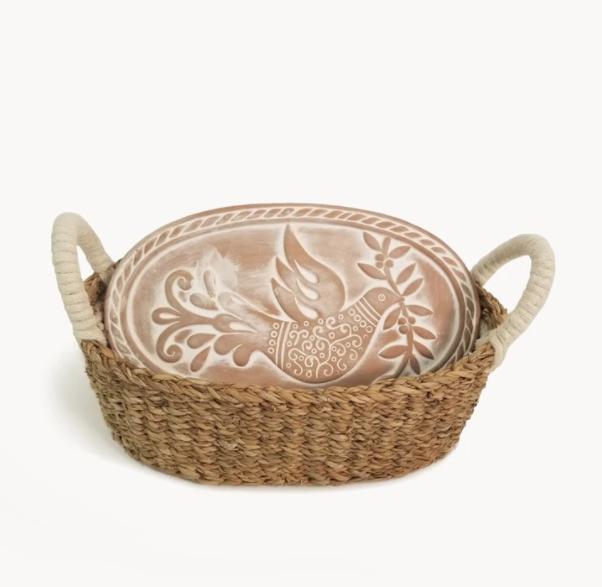 Korissa Bread Warmer & Basket - Bird Oval