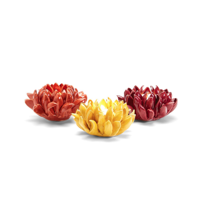 Two's Company In Full Bloom Flower Tealight Candleholder Yellow