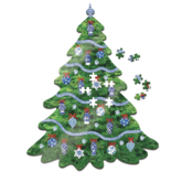 Two's Company Blue and White Christmas Tree Shape 500 Pc Jigsaw Puzzle