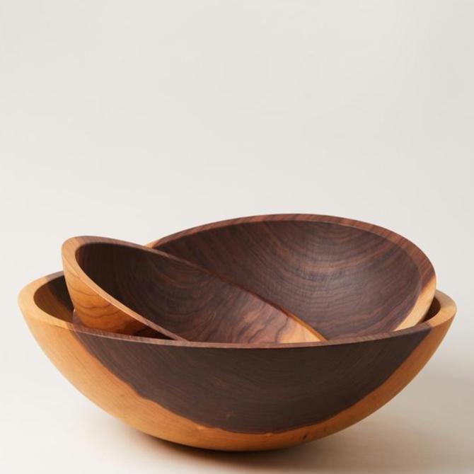 "Farmhouse Pottery Crafted Walnut Bowl 20"""