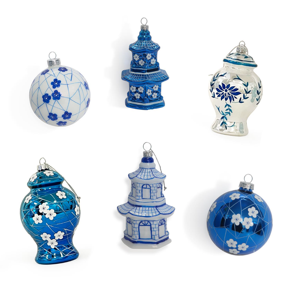 Two's Company Blue and White Ornament