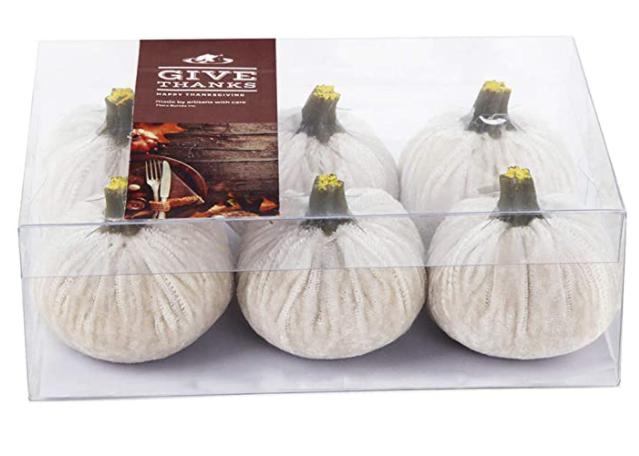 Faire Velet Pumpkins in Box - Cream