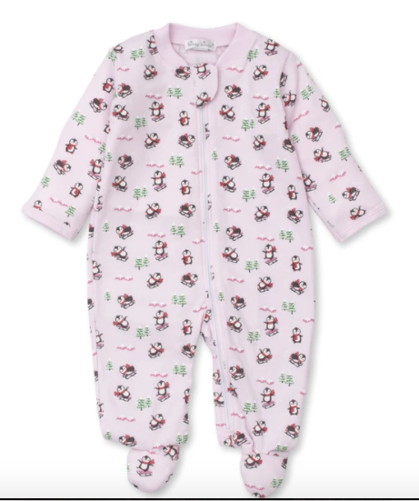 Kissy Kissy Slippery Slopes Zip Footie Pink 0-3 Month