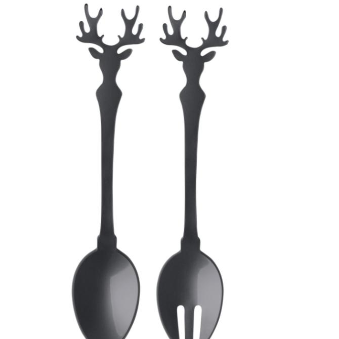 Sabre Salad Set - 2 PCS - Deer - Dark Grey