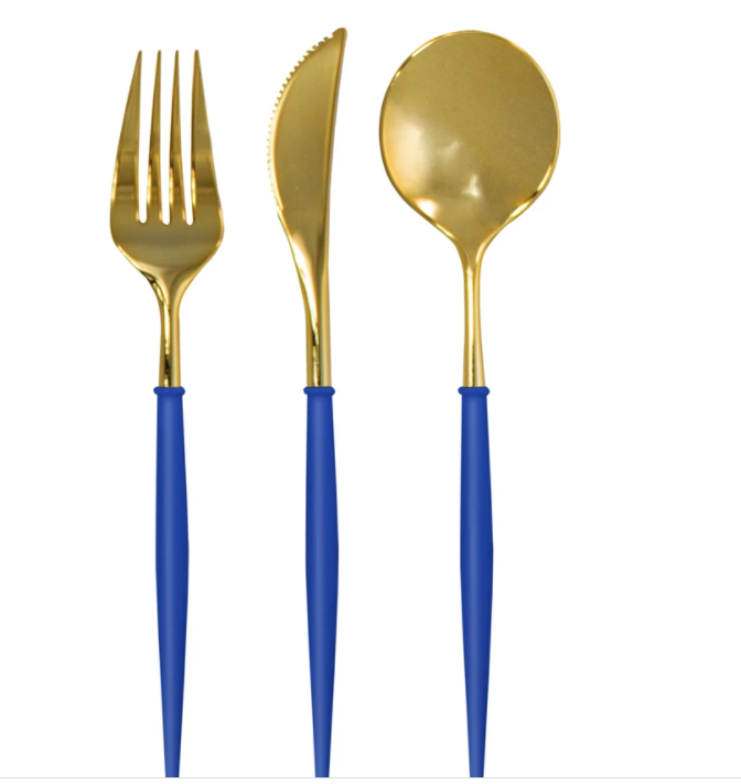Sophistiplate Bella Cutlery Gold/Blue Handle