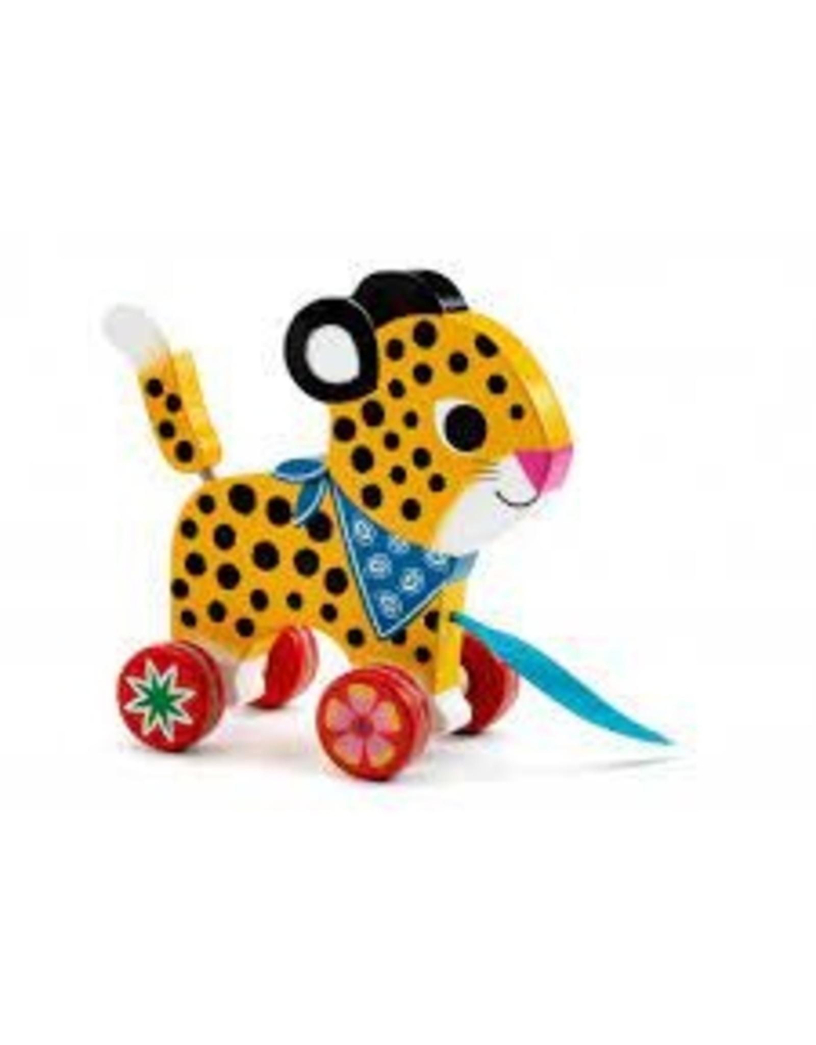 Greta Wooden Pull leopard
