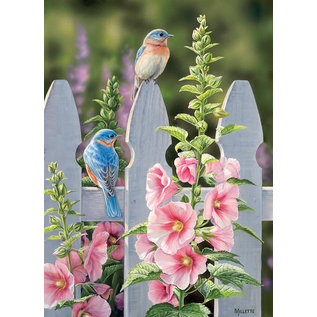 Puzzle: 1000 Bluebirds and Hollyhocks