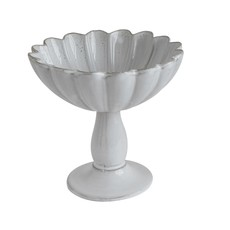 Terra cotta Fluted Pedestal Bowl, White