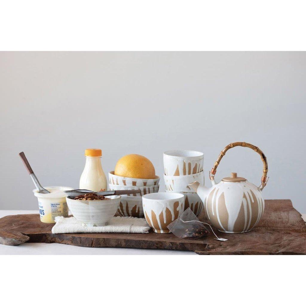 Ceramic Bowl, White Drip Glaze