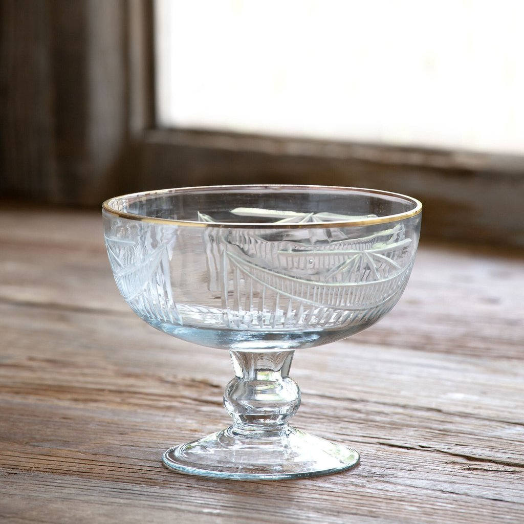 LPM Cut Glass Footed Bowl With Gold Plated Rim