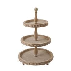 LPM Decorative Wood 3-Tier Tray