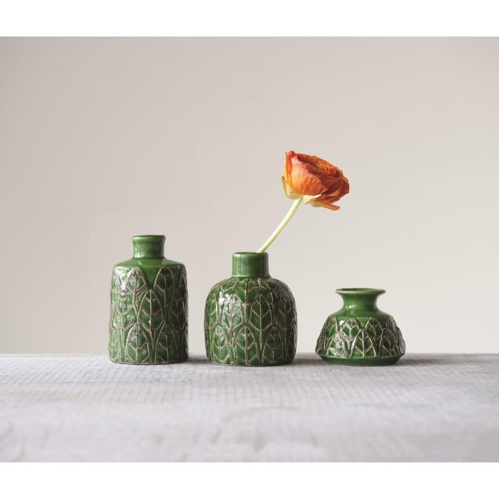 LPM Embossed Stoneware Vases, Green, Set of 3