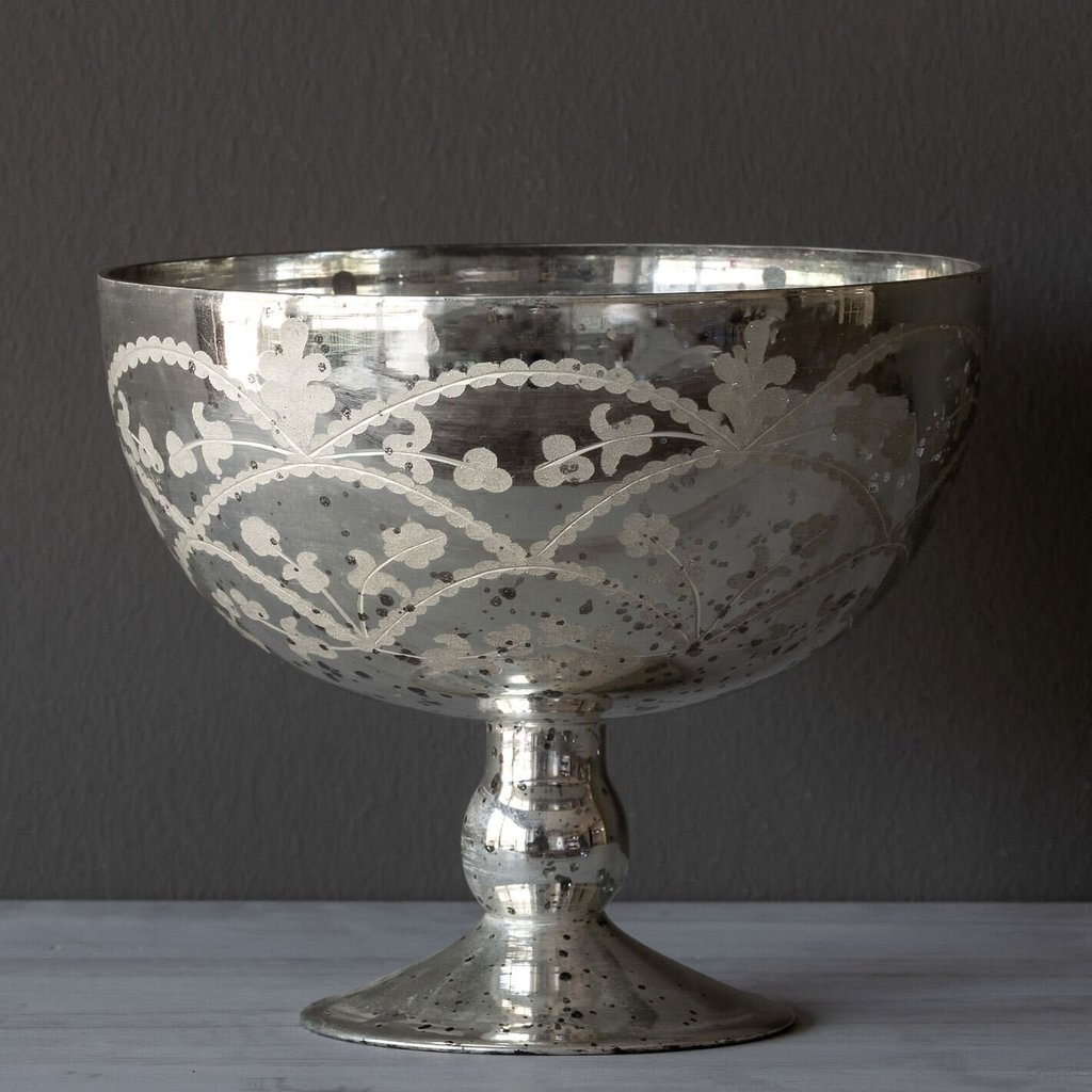 Mercury Glass Etched Garland Compote