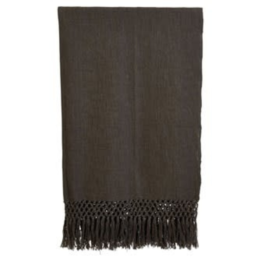 LPM Woven Cotton Throw,  Charcoal