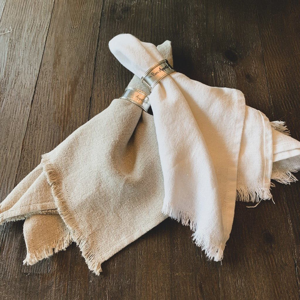 Napkin, tumbled fringe, white