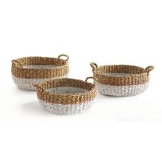 LPM Seagrass Shallow Baskets with Handles, set of 3