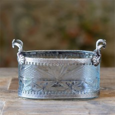 Cut Glass Oblong Bowl with Handles