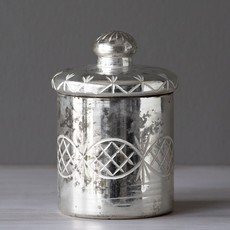 Mercury Glass Etched Cylinder with Lid, Medium