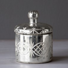 Mercury Glass Etched Votive Holder With Lid