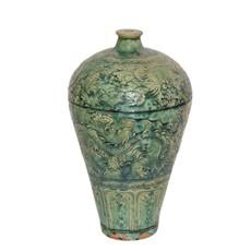 LPM Speckled Green Carved Dragon Plum Vase