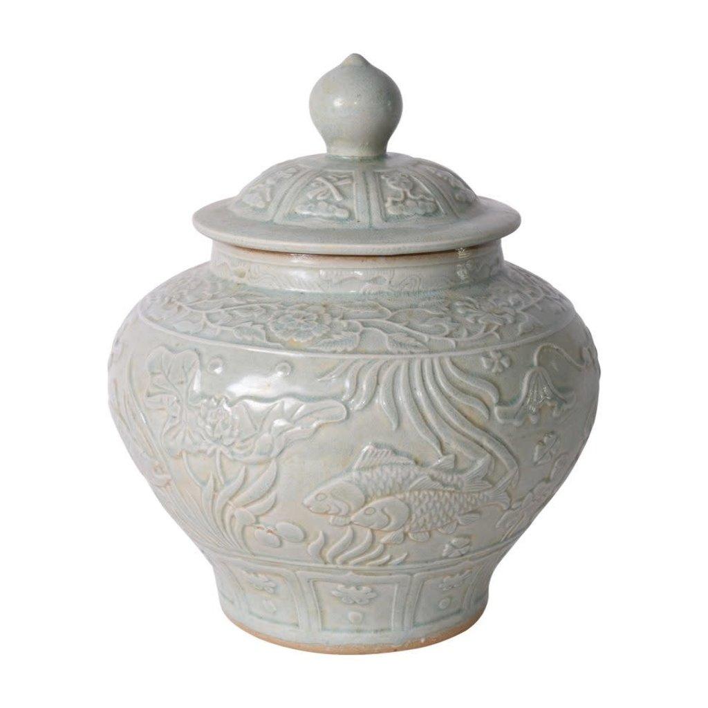 Embossed Porcelain Ginger Jar
