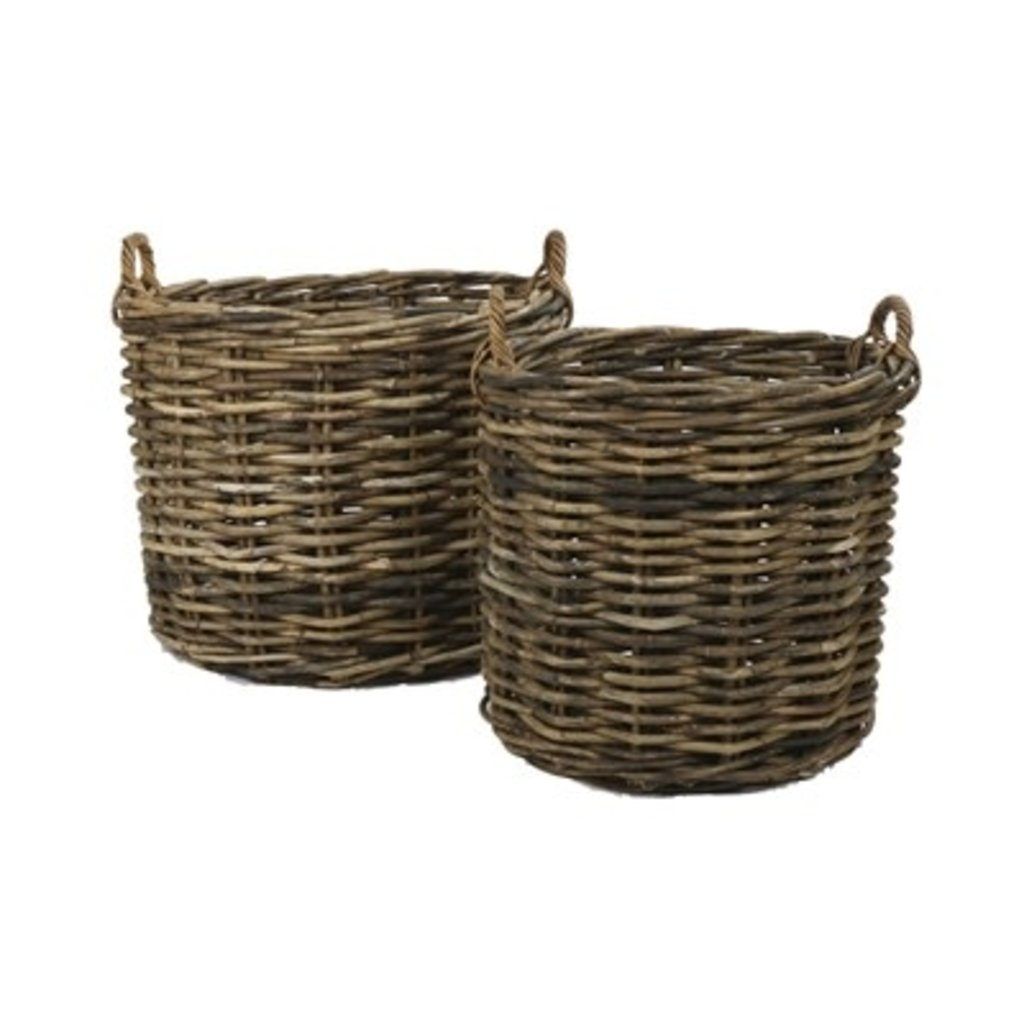Rattan Round Basket with Handles, small