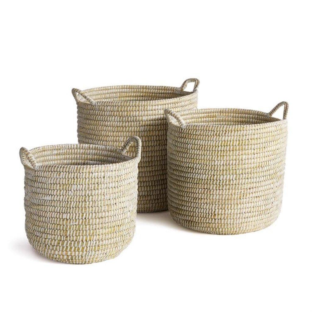 LPM Rivergrass Round Baskets with handles, set of three