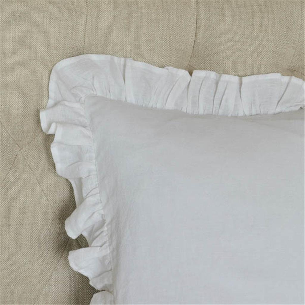 Euro Sham: washed linen, white with insert