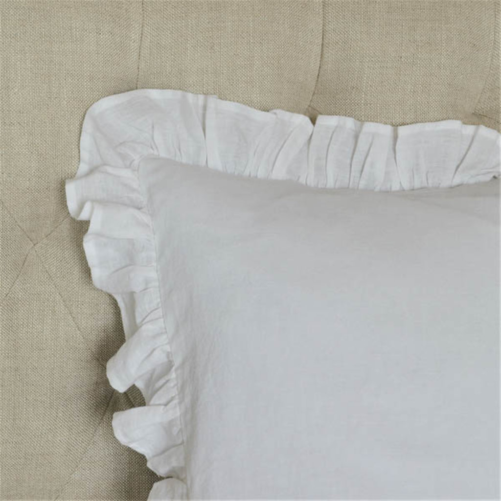 LPM Euro Sham: washed linen, white with insert