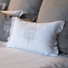Decor pillow: Royal design white pillow with taupe embroidery