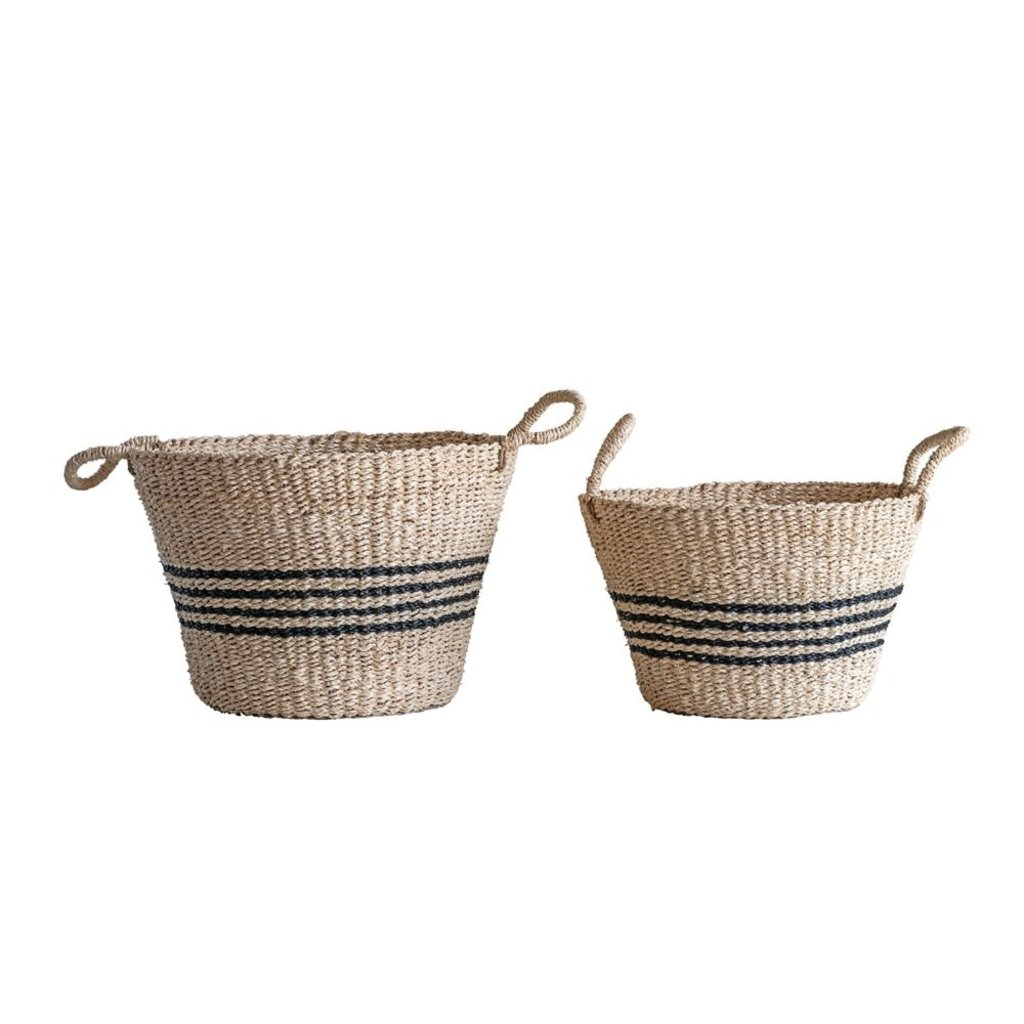 LPM Natural Woven Palm & Seagrass Striped Baskets, Black,small