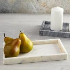 LPM White Rectangle Marble Tray