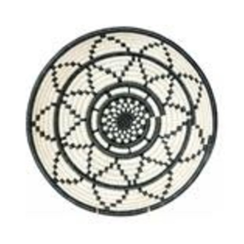 Black and  White Thousand Hills Round Basket, Large