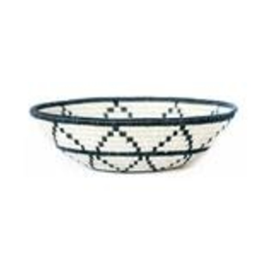 Black and  White Thousand Hills Round Basket, Large