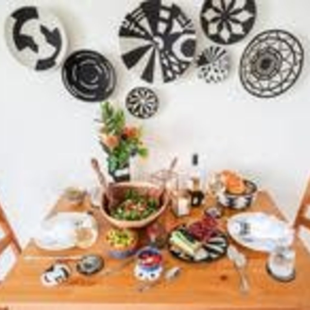 Black and  White Virunga Round Basket, Small
