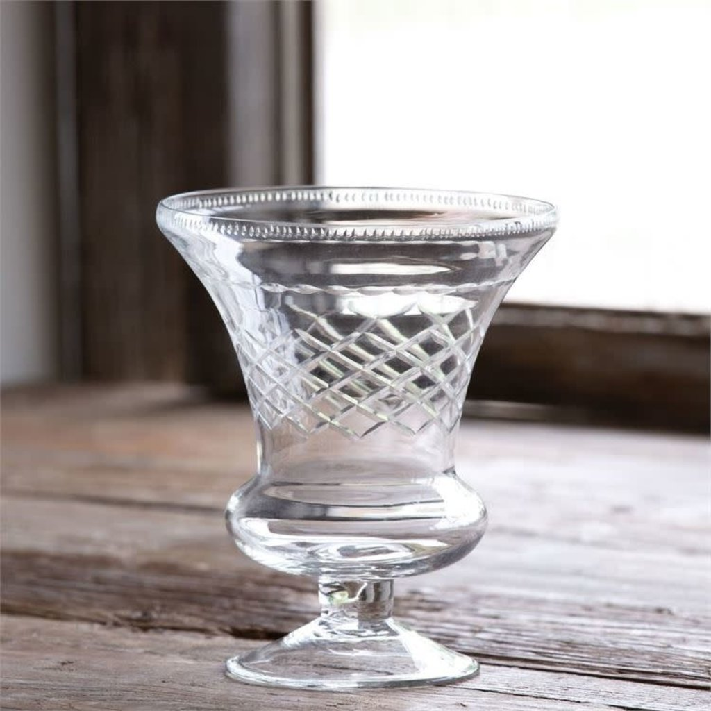 Etched Glass Classic Urn Vase