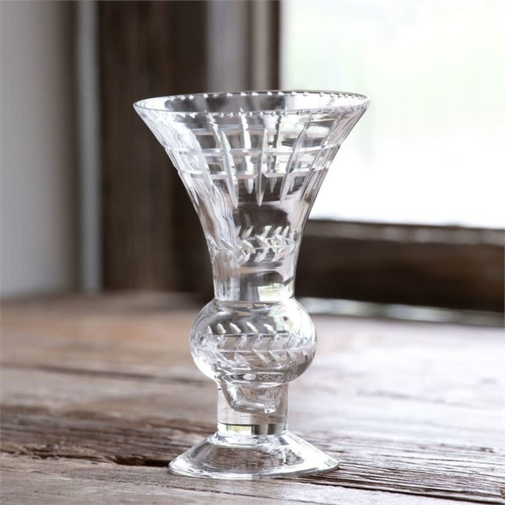 Etched Glass Classic Trumpet Vase