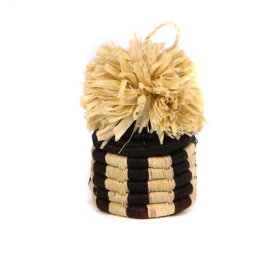 Black Pom Pom Basket Ornament