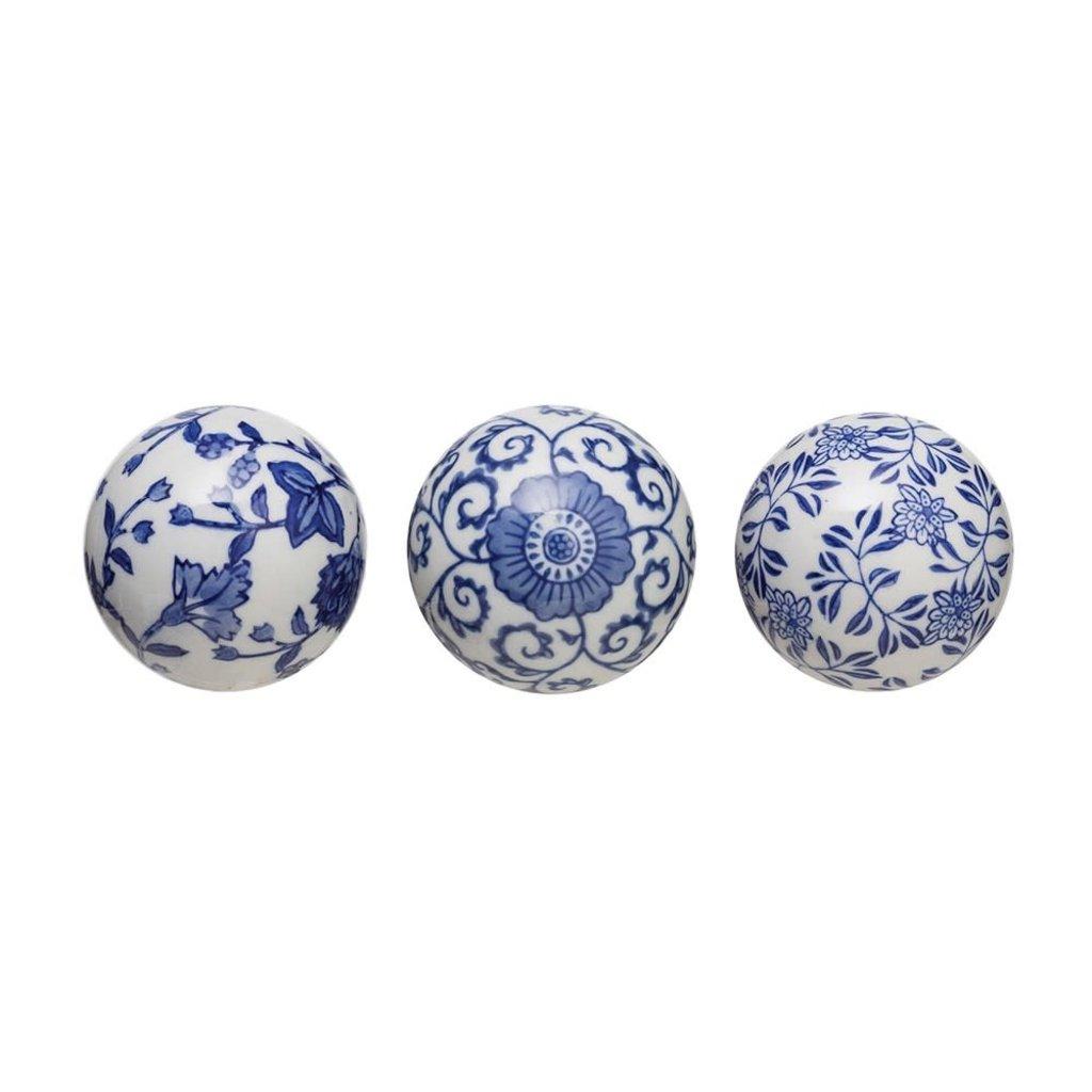 """3"""" round ceramic orb, blue"""