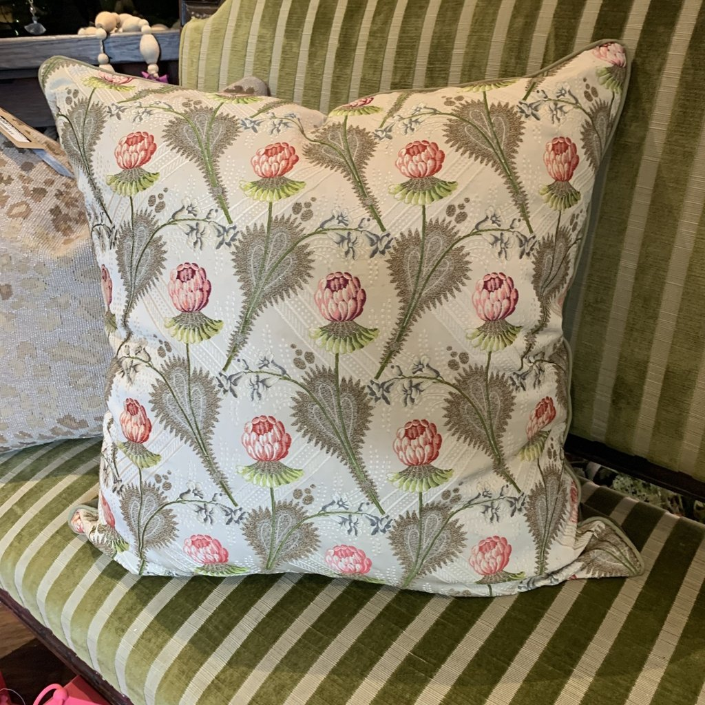 LPM Pillow, antique french embroidered fabric