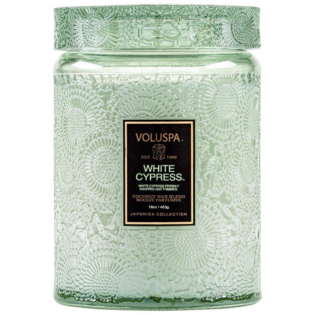 LPM White Cypress Jar Candle, Large