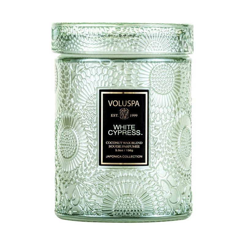 LPM White Cyprus Jar Candle, Small