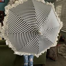 Pagoda Umbrella, Black & Cream Stripe, Ruffled