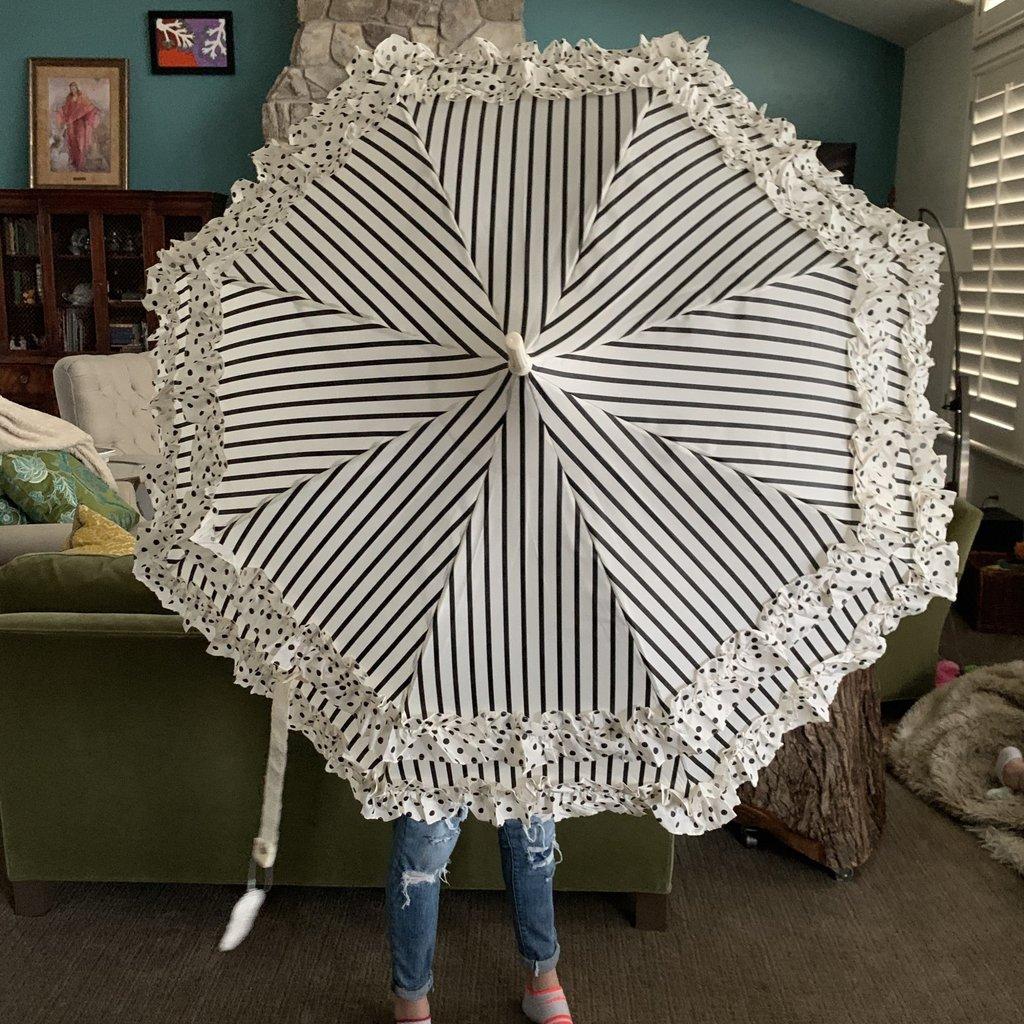 Pagoda Umbrella, Black & Cream with Dots & Stripes