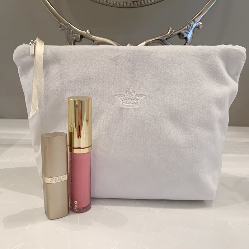 Crown Velvet Zipper Bag, Off White, Medium