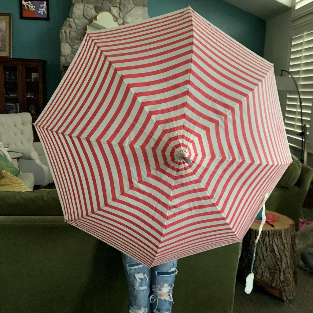 Pagoda Umbrella, Pink & Cream Stripe