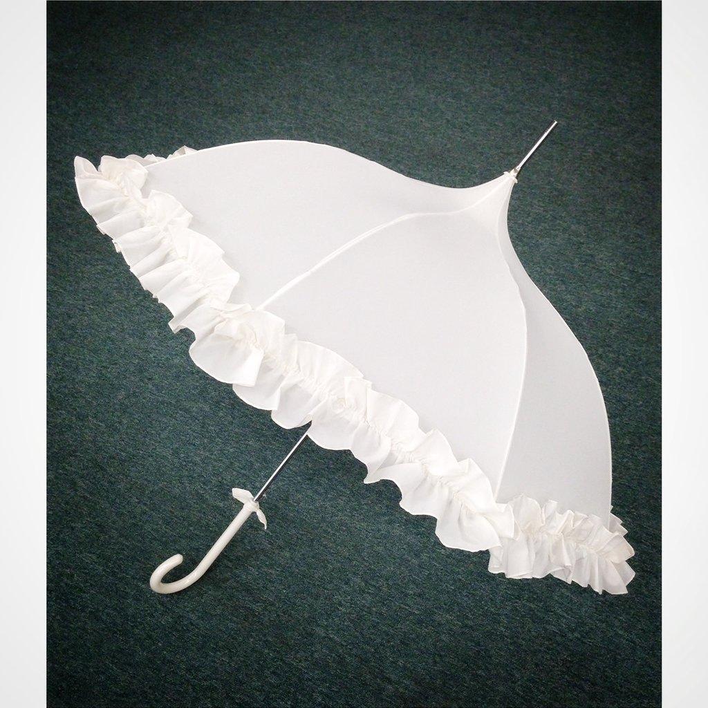Pagoda Umbrella, Cream, Ruffled
